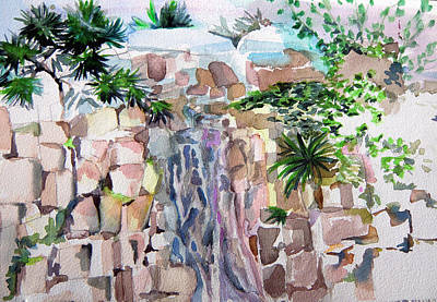 Mountain Waterfall Original by Mindy Newman