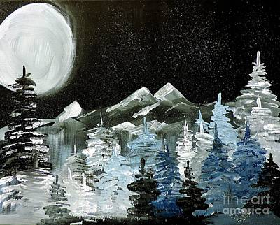 Painting - Mountain Winter Night by Tom Riggs