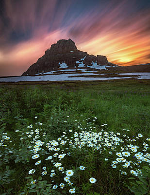 Photograph - Mountain With Wildflowers And Sunset Clouds by William Freebilly photography