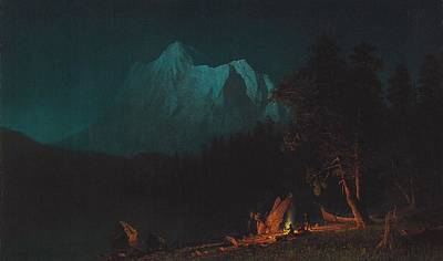 Wood Fire Painting - Mountainous Landscape By Moonlight by Albert Bierstadt