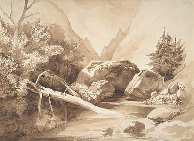 Drawing - Mountainous Landscape With A Brook by Franz Kobell