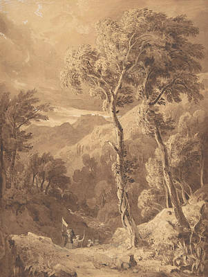 Landscape Drawing - Mountainous Landscape With A Party Of Travellers by Hugh William Williams