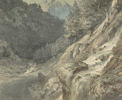 Drawing - Mountainous Landscape With A River by Johann Wilhelm Schirmer