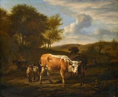 1920s Flapper Girl - Mountainous Landscape with Cows, Adriaen van de Velde, 1663 by Adriaen van de Velde