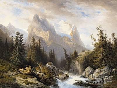Mountainous Painting - Mountainous Landscape With The Rosenlaui Glacier by Celestial Images