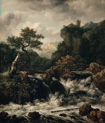 Wood Castle Painting - Mountainous Landscape With Waterfall by Mountain Dreams