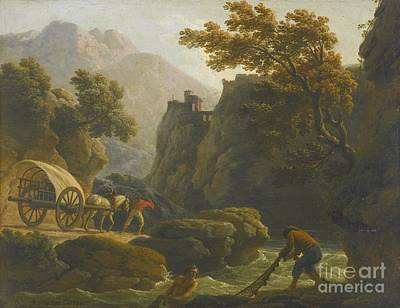 Mountainous Painting - Mountainous River Landscape With Two Fishermen Casting A Net by Celestial Images