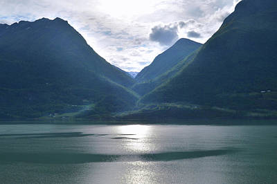 Photograph - Mountains Along Lustrafjorden by Terence Davis
