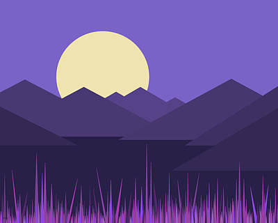 Art Print featuring the digital art Mountains And A Lavender Sky by Val Arie