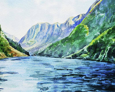 Mountain Royalty-Free and Rights-Managed Images - Mountains And Lake Watercolor by Irina Sztukowski
