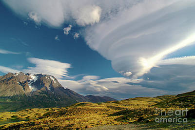 Mountains And Lenticular Cloud In Patagonia Art Print