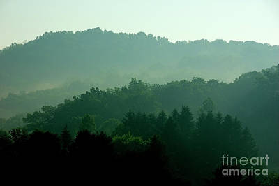 Mountains And Mist Art Print by Thomas R Fletcher
