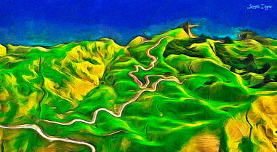 Lettuce Painting - Mountains And Ocean - Pa by Leonardo Digenio
