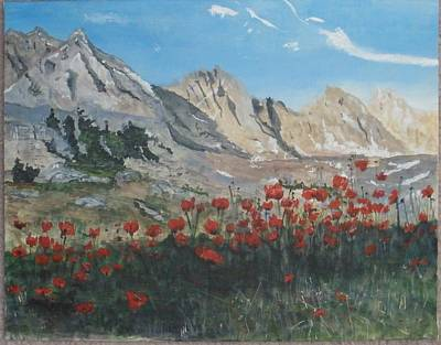 Art Print featuring the painting Mountains And Poppies by Betty-Anne McDonald