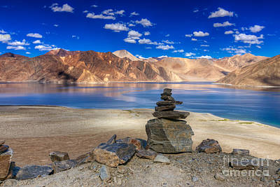 Hill Photograph - Mountains And Rocks Pangong Tso Lake Leh Ladakh Jammu Kashmir India by Rudra Narayan  Mitra