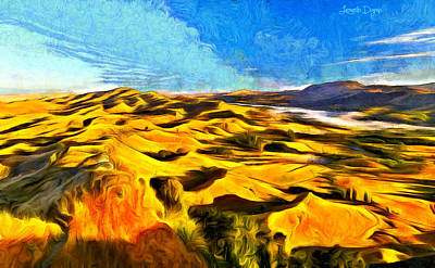 Hiking Painting - Mountains And Valley - Pa by Leonardo Digenio