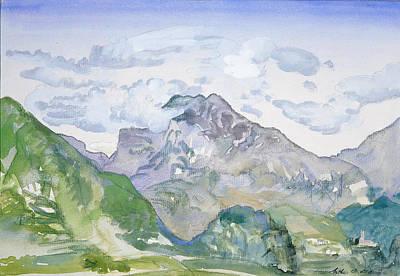Arthur Bowen Davies Drawing - Mountains by Arthur Bowen Davies