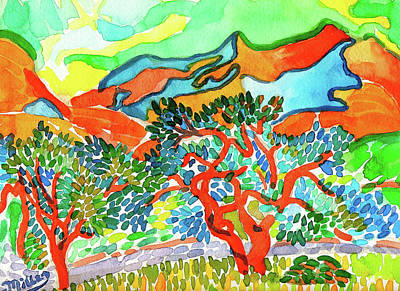 Painting - Mountains At Collioure by Dan Miller