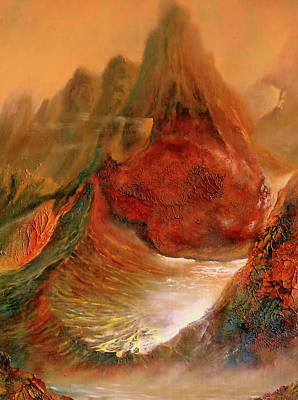 Alien World Painting -  Mountains Fire by Henryk Gorecki