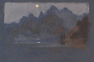 Drawing - Mountains In Moonlight by Arthur Bowen Davies