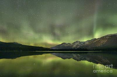 Photograph - Mountains In The Northern Lights by Adam Jewell