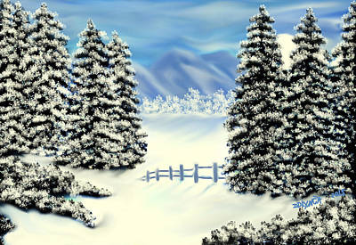 Fir Trees Mixed Media - Mountains In The Winter by Debra Lynch
