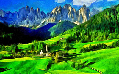 Switzerland Painting - Mountains by Leonardo Digenio