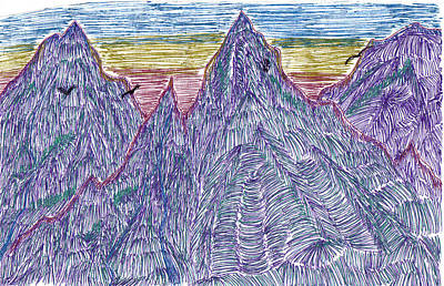 Mountains Art Print by Lynnette Jones