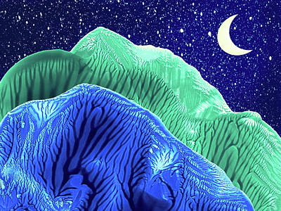 Painting - Mountains Moon Starry Night Abstract Landscape by Amy Vangsgard