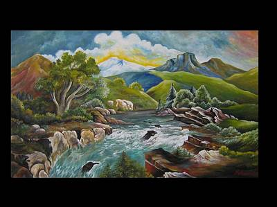 Mountain's River Art Print by Netka Dimoska