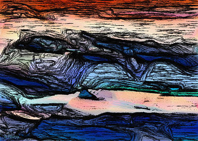 Digital Art - Mountains Valleys And Lake by Dee Flouton