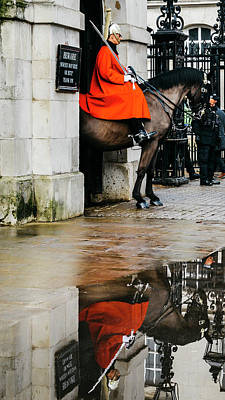 Photograph - Mounted British Horse Guard Reflection by Alexandre Rotenberg