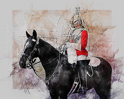 Digital Art - Mounted Household Cavalry Soldier On Guard Duty In Whitehall Lon by Anthony Murphy