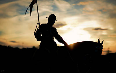 Christina Conway Royalty-Free and Rights-Managed Images - Mounted Policeman at Sunset by Christina Conway