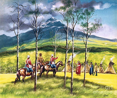 Walsh Painting - Mountie, James Walsh, Meeting Sitting Bull To Persuade Him Of The Need For Peace by Ron Embleton