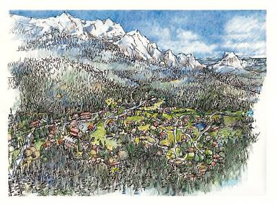 Drawing - Mountine Village by Andrew Drozdowicz