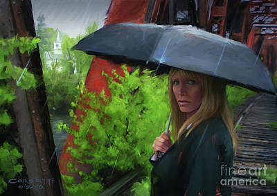 Painting - Mourner In The Rain by Rob Corsetti
