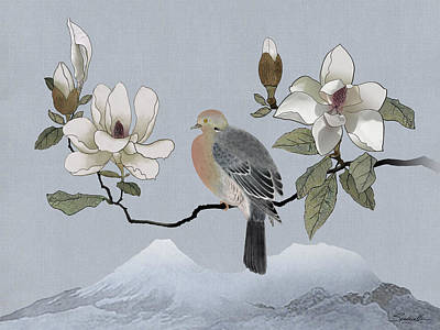 Digital Art - Mourning Dove And Magnolia by IM Spadecaller