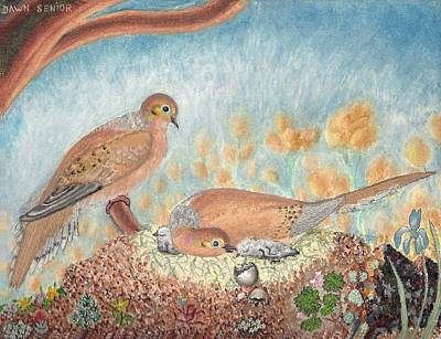 Painting - Mourning Dove Family by Dawn Senior-Trask