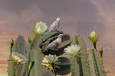 Cactus Flower Digital Art - Mourning Doves On Flowering Cactus by IM Spadecaller