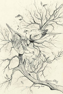 Upland Game Birds Painting - Mourning Doves by Roseanne Marie Peters