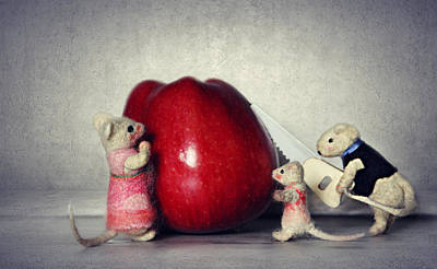 Mouse And Appel Art Print by Heike Hultsch