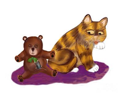 Digital Art - Mouse Hangs Onto Green Bow On Teddy Bear by Ellen Miffitt