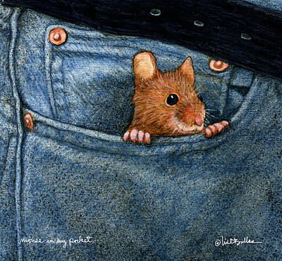 Mouse In My Pocket... Art Print by Will Bullas
