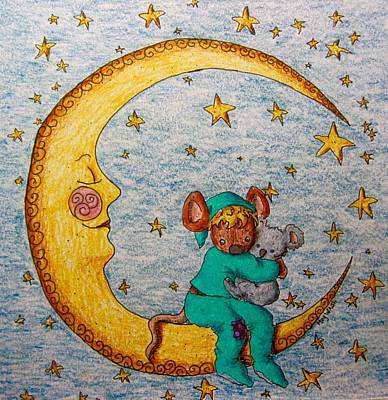 Drawing - Mouse On The Moon by Megan Walsh
