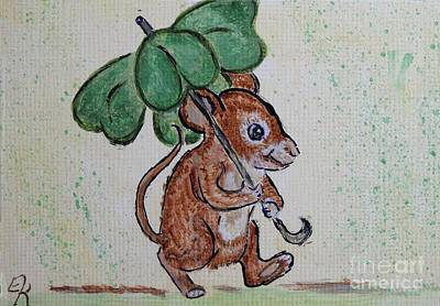 Leprechaun Painting - Mouse With Four Leaf Clover Umbrella Painting #893 by Ella Kaye Dickey