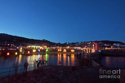 Photograph - Mousehole Cornwall Christmas Lights by Terri Waters