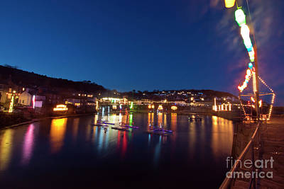Photograph - Mousehole Village Christmas Lights by Terri Waters