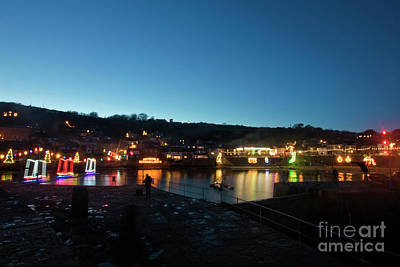 Photograph - Mousehole Village Lights At Christmas by Terri Waters