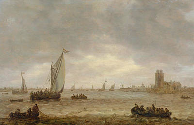 Angling Painting - Mouth Of The Meuse, Dordrecht by Jan van Goyen